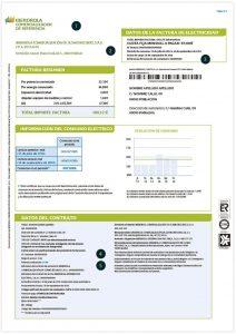 Anverso de factura de luz en el mercado regulado